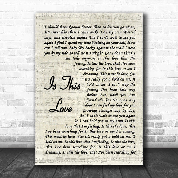 Whitesnake Is This Love Vintage Script Song Lyric Wall Art Print