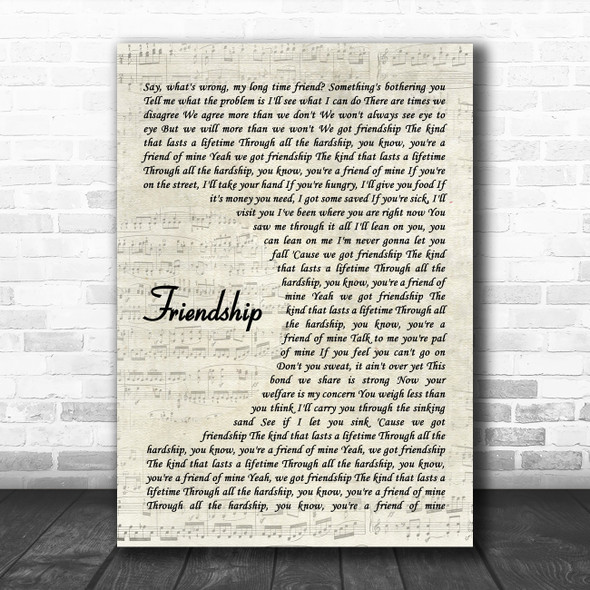 Chris Stapleton Friendship Vintage Script Song Lyric Wall Art Print