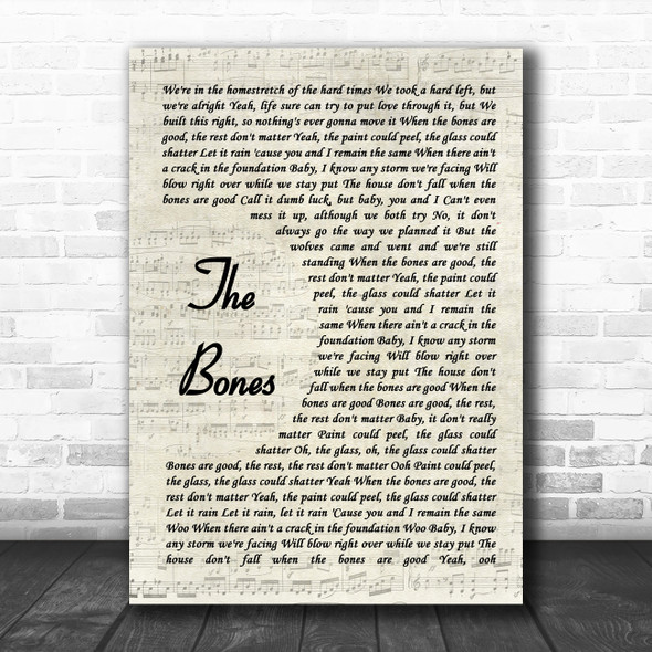 Maren Morris The Bones Vintage Script Song Lyric Wall Art Print