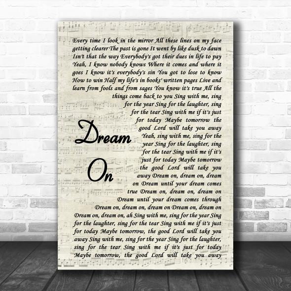 Aerosmith Dream On Vintage Script Song Lyric Wall Art Print