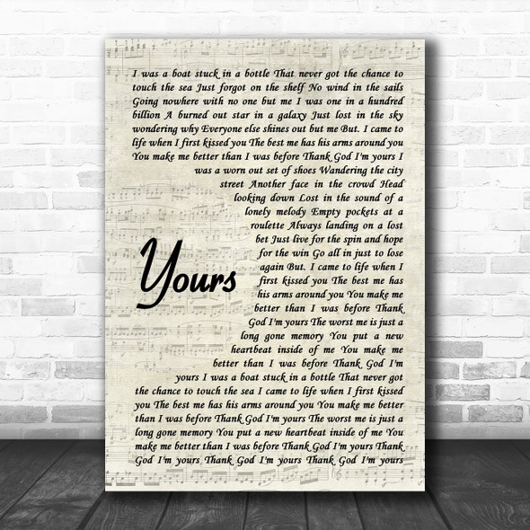 Russell Dickerson Yours Vintage Script Song Lyric Wall Art Print