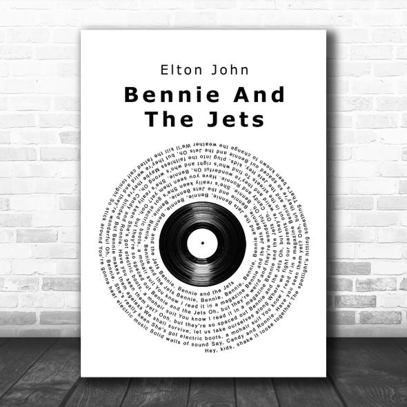Elton John Bennie And The Jets Vinyl Record Song Lyric Wall Art Print