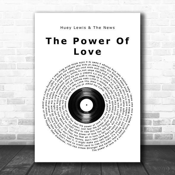 Huey Lewis & The News The Power Of Love Vinyl Record Song Lyric Wall Art Print