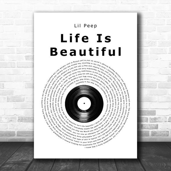 Lil Peep Life Is Beautiful Vinyl Record Song Lyric Wall Art Print