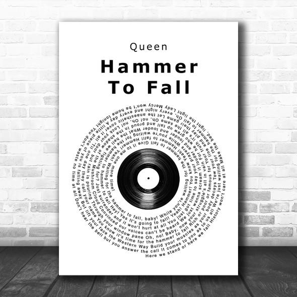 Queen Hammer To Fall Vinyl Record Song Lyric Wall Art Print