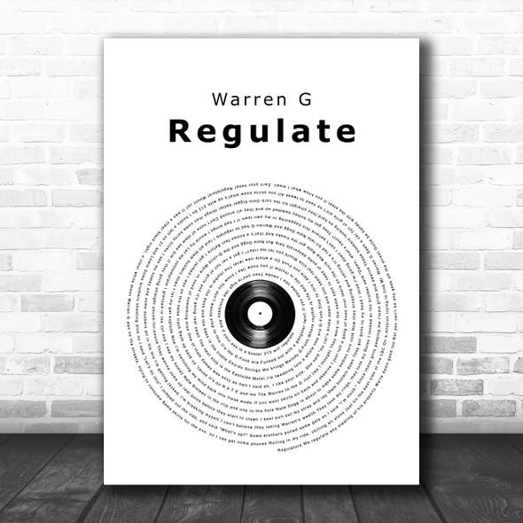 Warren G Regulate Vinyl Record Song Lyric Wall Art Print