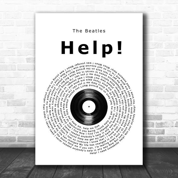 The Beatles Help! Vinyl Record Song Lyric Wall Art Print