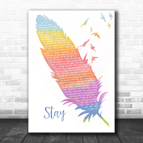 Lisa Loeb Stay (I Missed You) Watercolour Feather & Birds Song Lyric Wall Art Print