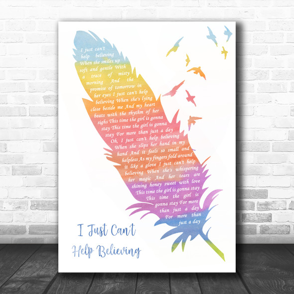 ELVIS I Just Can't Help Believing Watercolour Feather & Birds Song Lyric Wall Art Print