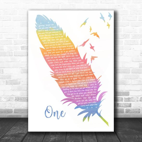 U2 One Watercolour Feather & Birds Song Lyric Wall Art Print