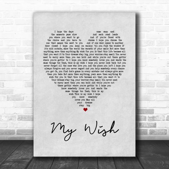 Rascal Flatts My Wish Grey Heart Song Lyric Music Wall Art Print