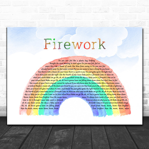 Katy Perry Firework Watercolour Rainbow & Clouds Song Lyric Wall Art Print