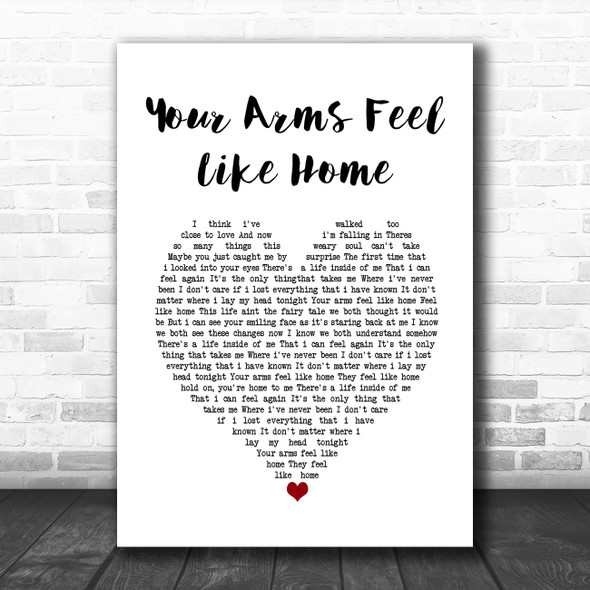3 Doors Down Your Arms Feel Like Home White Heart Song Lyric Wall Art Print