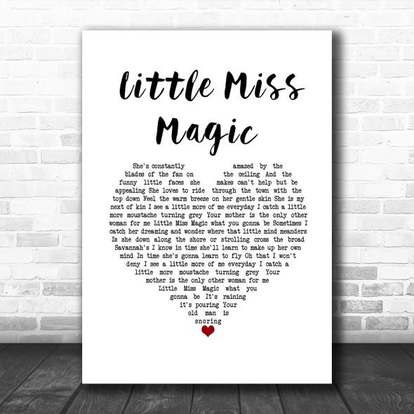 Jimmy Buffett Little Miss Magic White Heart Song Lyric Wall Art Print