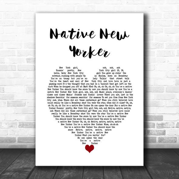 Odyssey Native New Yorker White Heart Song Lyric Wall Art Print