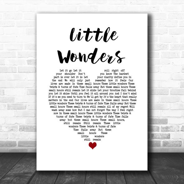 Rob Thomas Little Wonders White Heart Song Lyric Wall Art Print