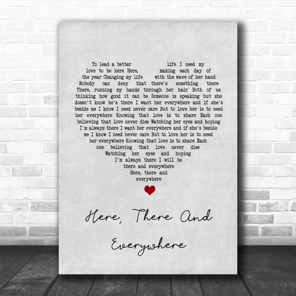 The Beatles Here, There And Everywhere Grey Heart Song Lyric Music Wall Art Print
