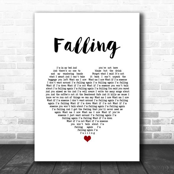 Harry Styles Falling White Heart Song Lyric Wall Art Print