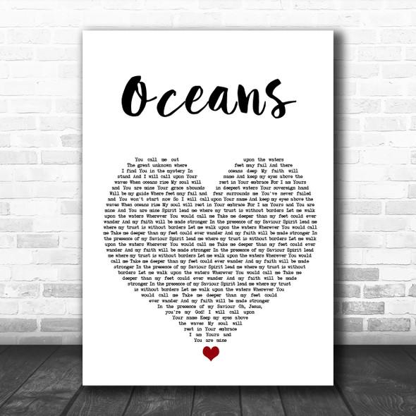Hillsong United Oceans White Heart Song Lyric Wall Art Print