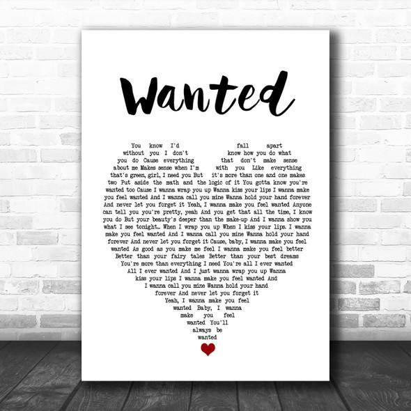 Hunter Hayes Wanted White Heart Song Lyric Wall Art Print
