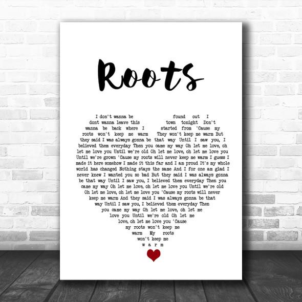 Grace Davies Roots White Heart Song Lyric Wall Art Print
