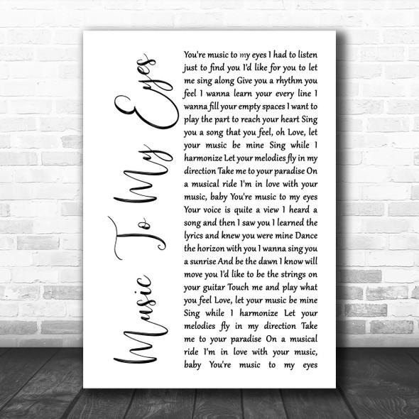 Lady Gaga & Bradley Cooper Music To My Eyes White Script Song Lyric Wall Art Print