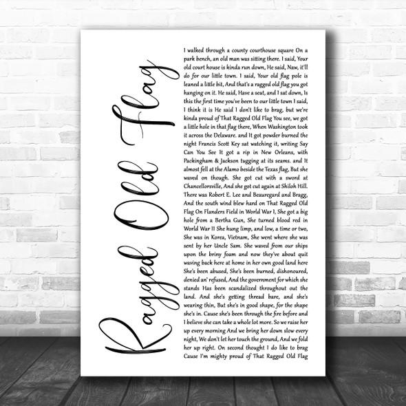 Johnny Cash Ragged Old Flag White Script Song Lyric Wall Art Print