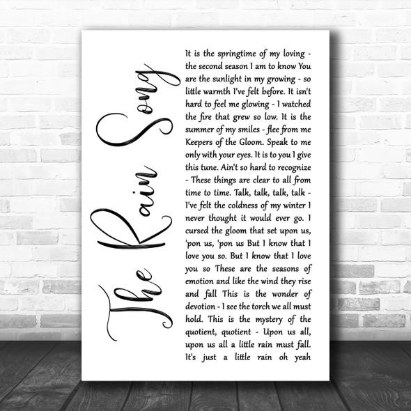 Led Zeppelin The Rain Song White Script Song Lyric Wall Art Print