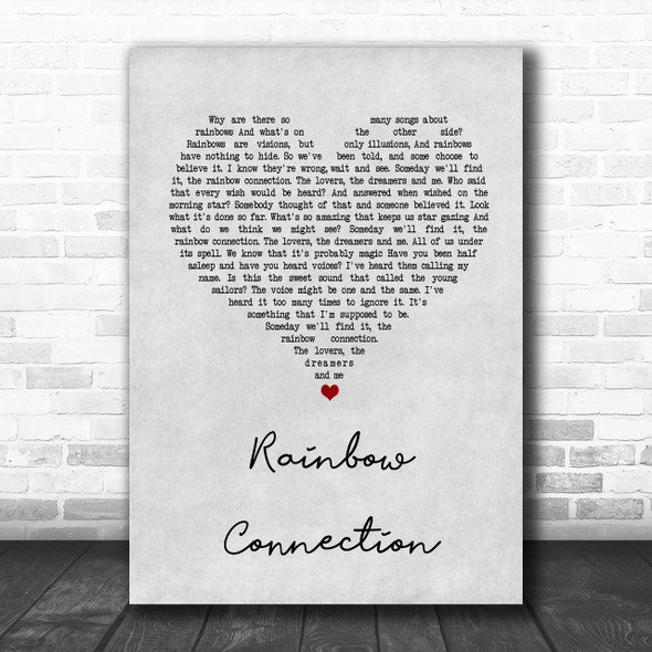 The Muppets Rainbow Connection Grey Heart Song Lyric Music Wall Art Print