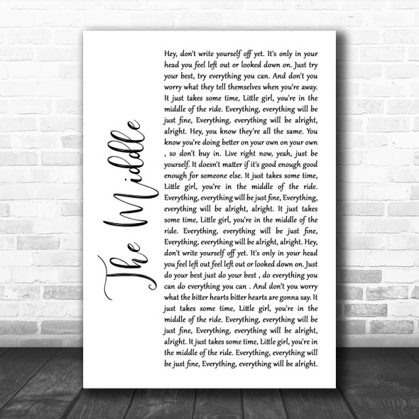 Jimmy Eat World The Middle White Script Song Lyric Wall Art Print