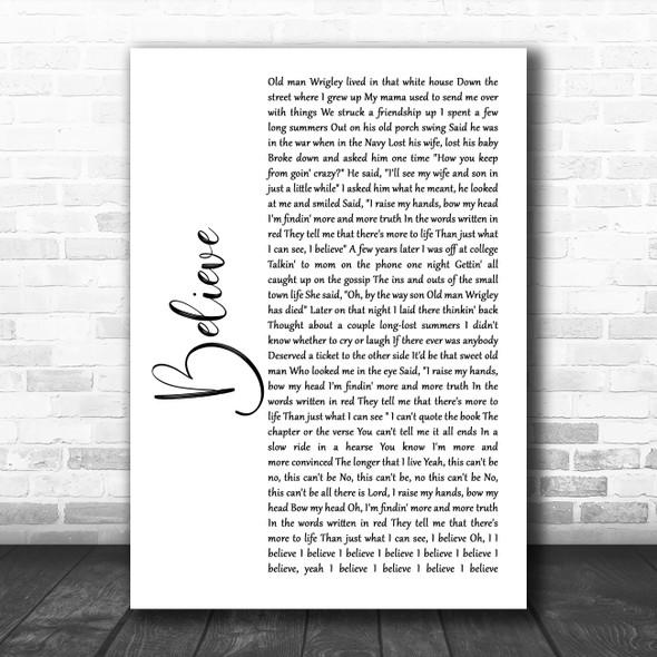 Brooks & Dunn Believe White Script Song Lyric Wall Art Print