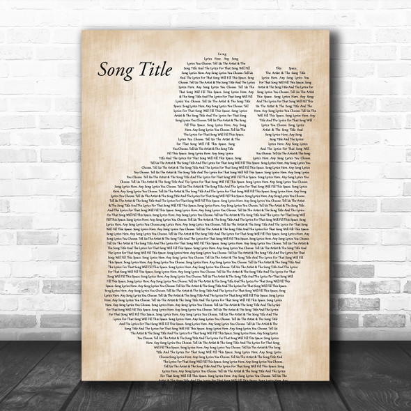 Any Song Lyrics Custom Father & Baby Song Lyric Print