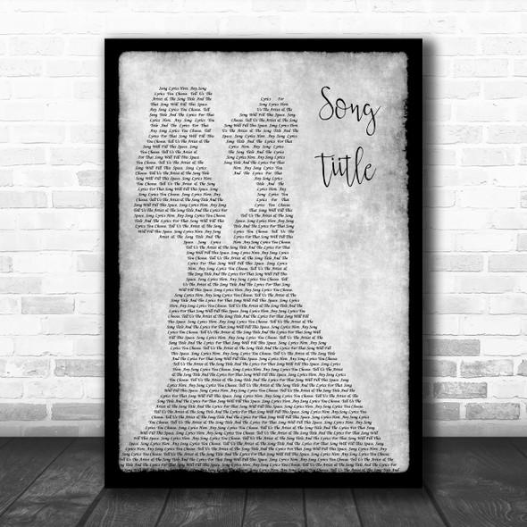 Any Song Lyrics Custom Lesbian Couple Two Women Dancing Grey Song Lyric Print