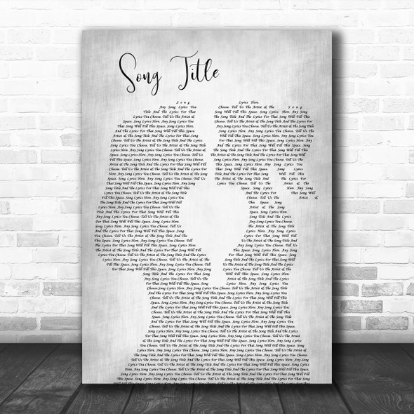 Any Song Lyrics Custom Lesbian Women Gay Couple Wedding Grey Song Lyric Print