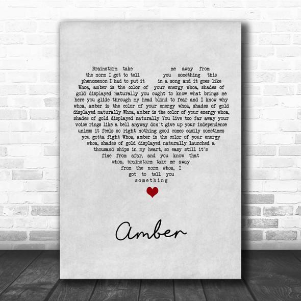 311 Amber Grey Heart Song Lyric Print
