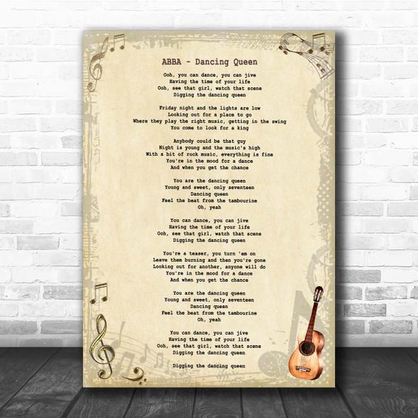 ABBA Dancing Queen Vintage Guitar Song Lyric Print