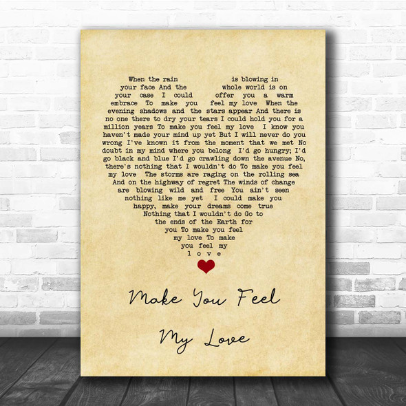 Adele Make You Feel My Love Vintage Heart Song Lyric Print