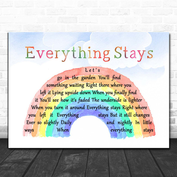 Adventure Time & Ashley Eriksson Everything Stays Watercolour Rainbow & Clouds Song Lyric Print