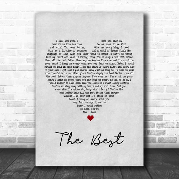 Tina Turner The Best Grey Heart Song Lyric Music Wall Art Print