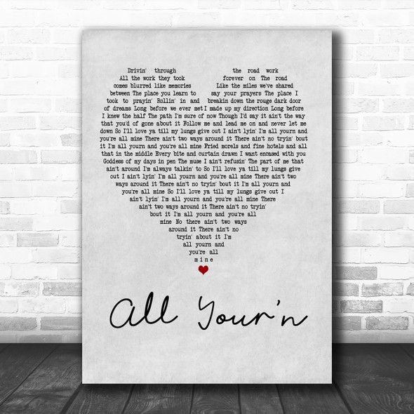 Tyler Childers All Your'n Grey Heart Song Lyric Music Wall Art Print