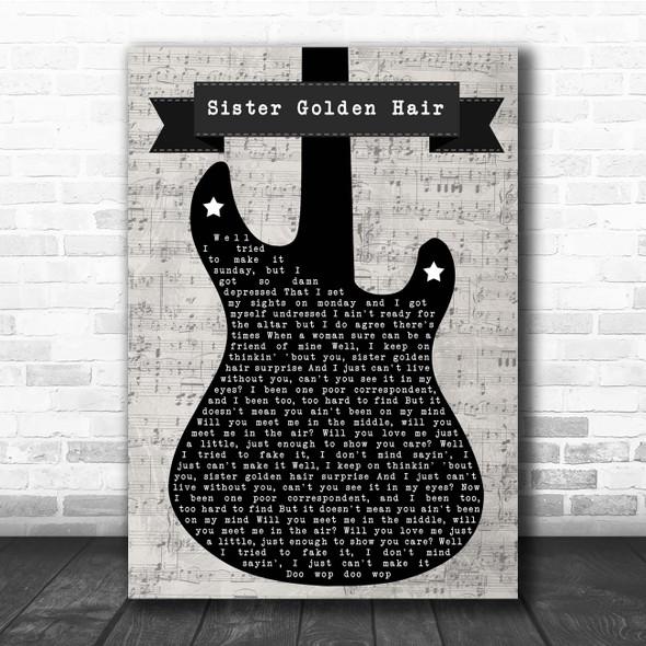 America Sister Golden Hair Electric Guitar Music Script Song Lyric Print