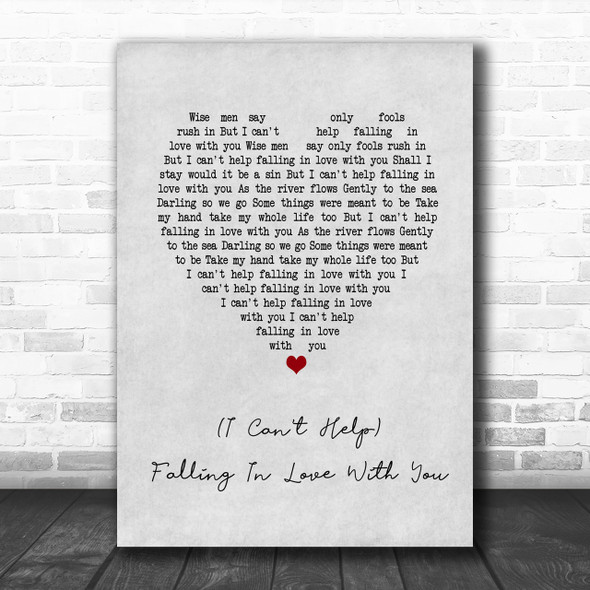 UB40 (I Can't Help) Falling In Love With You Grey Heart Song Lyric Music Wall Art Print