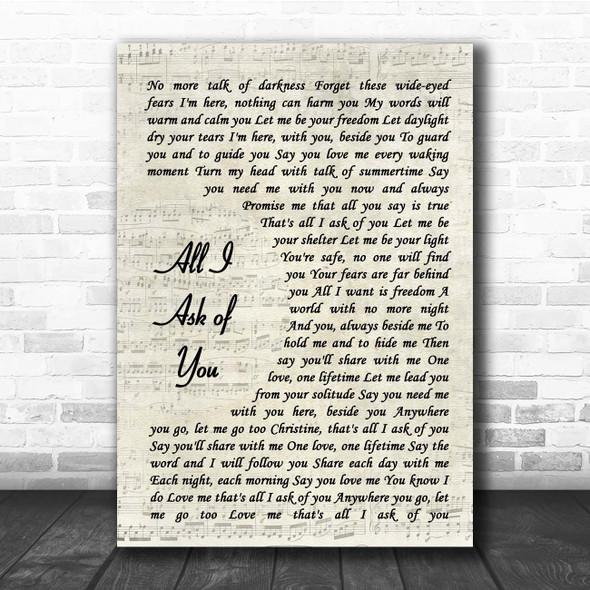 Andrew Lloyd Webber All I Ask of You Vintage Script Song Lyric Print
