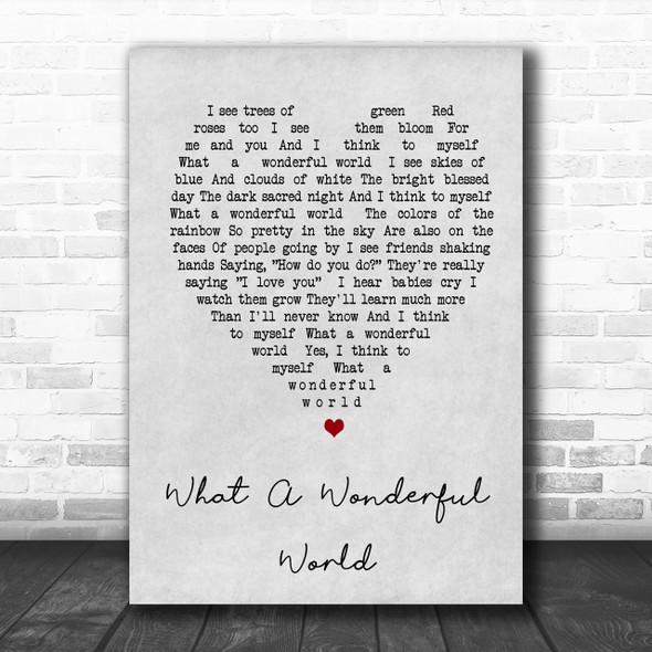 What A Wonderful World Louis Armstrong Grey Heart Song Lyric Music Wall Art Print