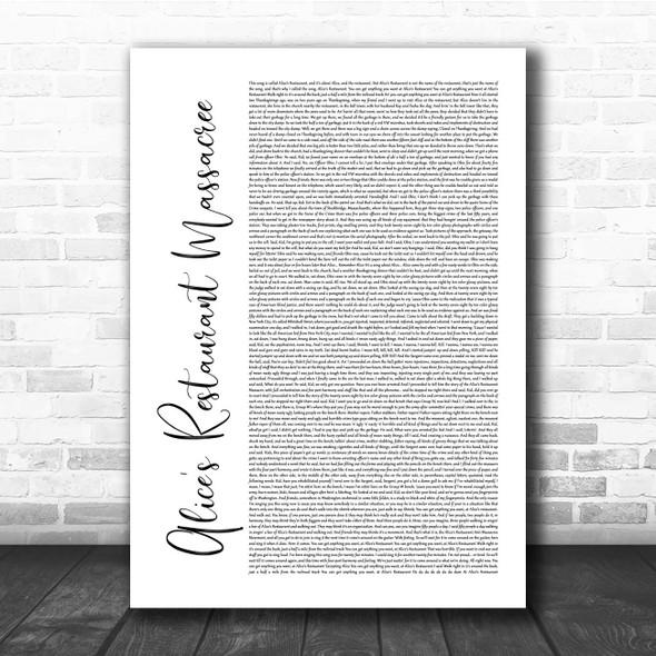 Arlo Guthrie Alice's Restaurant Massacree White Script Song Lyric Print