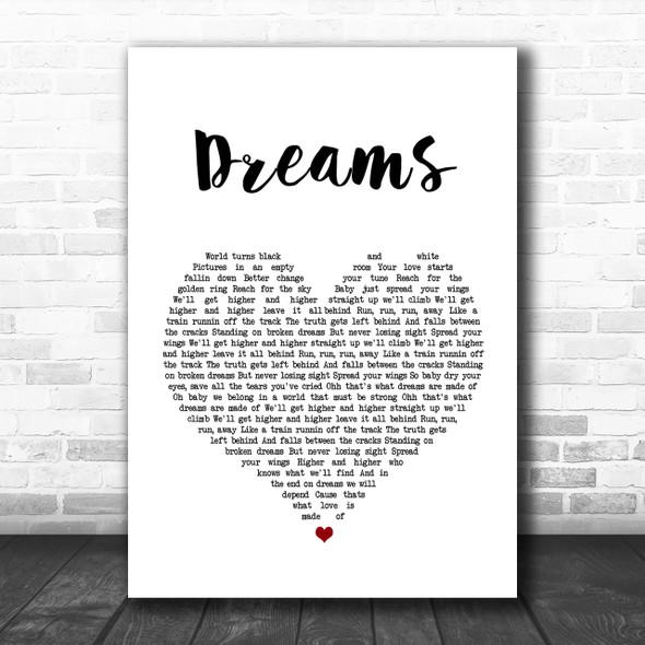 Van Halen Dreams Heart Song Lyric Music Wall Art Print