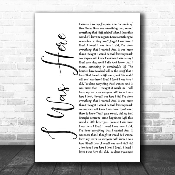 Beyonce I Was Here White Script Song Lyric Print