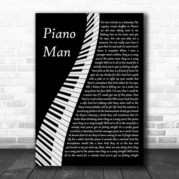 Billy Joel Piano Man Piano Song Lyric Print