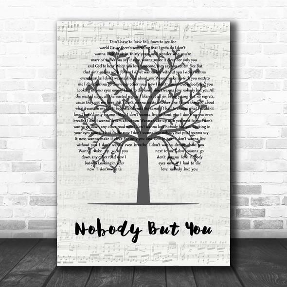 Blake Shelton Nobody But You Music Script Tree Song Lyric Print
