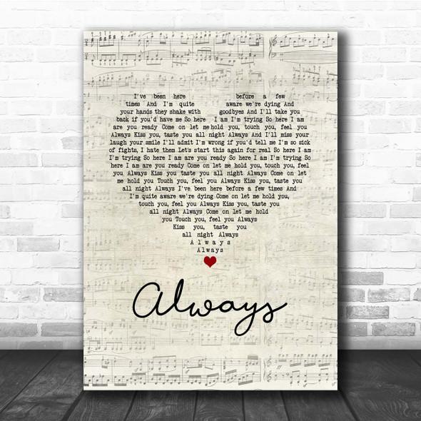 Blink-182 Always Script Heart Song Lyric Print